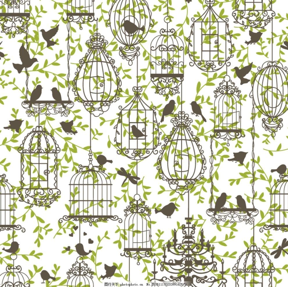 边框 花纹 背景 欧式 藤蔓 鸟笼 鸟 设计 底纹边框 花边花纹 eps