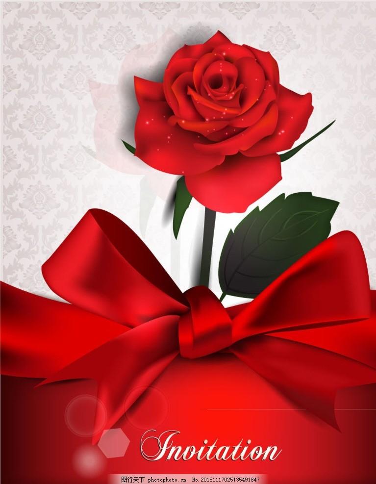 绸带 玫瑰 邀请卡 请柬 婚礼 丝带 蝴蝶结 装饰 玫瑰花 花卉 花朵