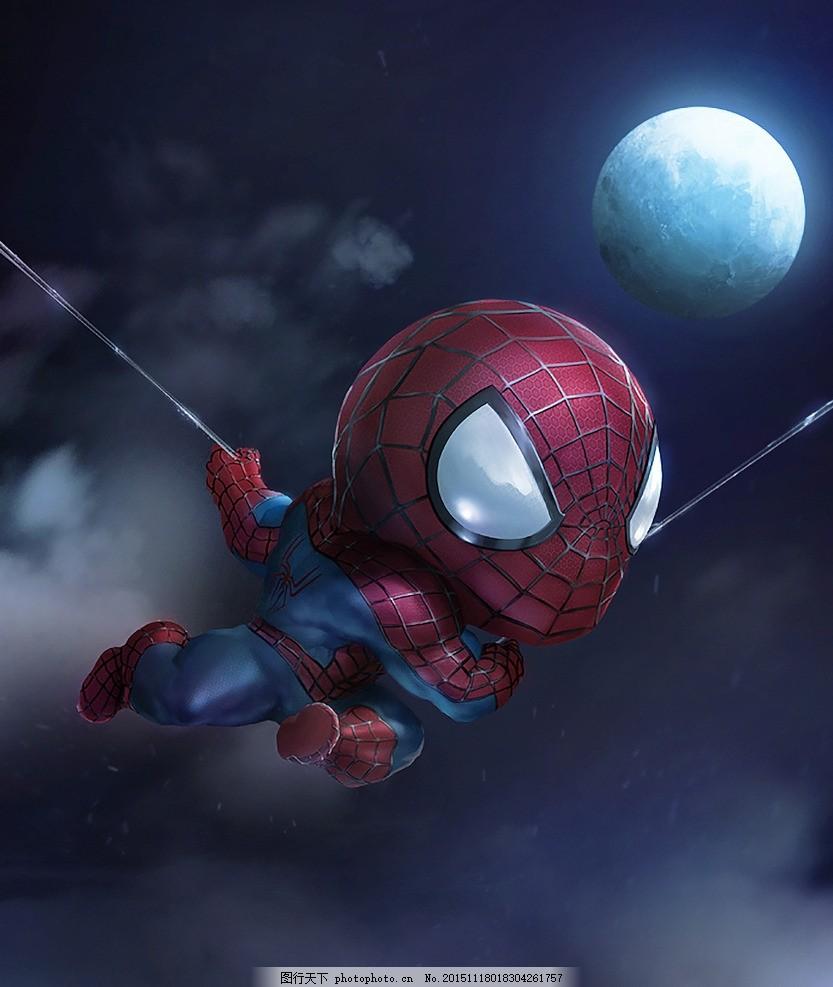 q版英雄 蜘蛛侠 插画 q版人物 超级英雄 现代 漫画 cg 人物 art 机器