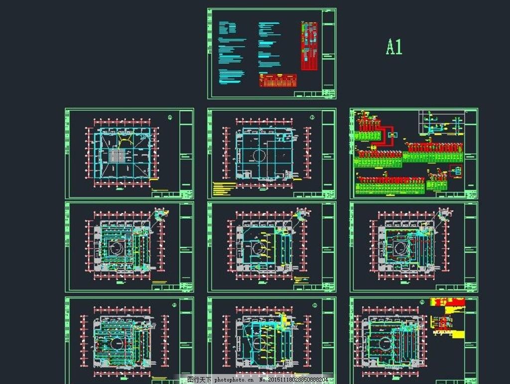 二层学校食堂电气设计图纸