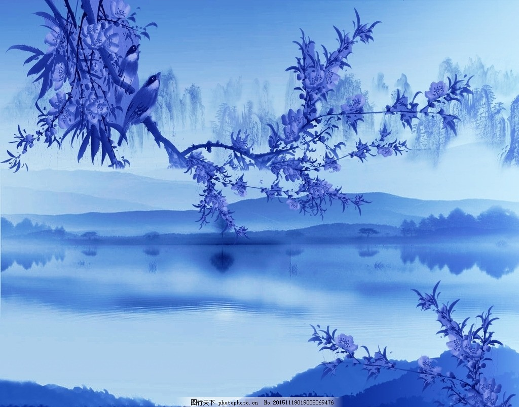 青花背景 青花瓷 电视背景 山水 国画 山 水墨画 风景 绘画 壁纸 壁画
