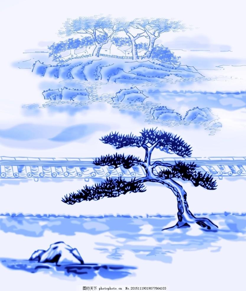 青花玄关 青花瓷 玄关 山水 国画 山 水墨画 风景 绘画 壁纸 壁画