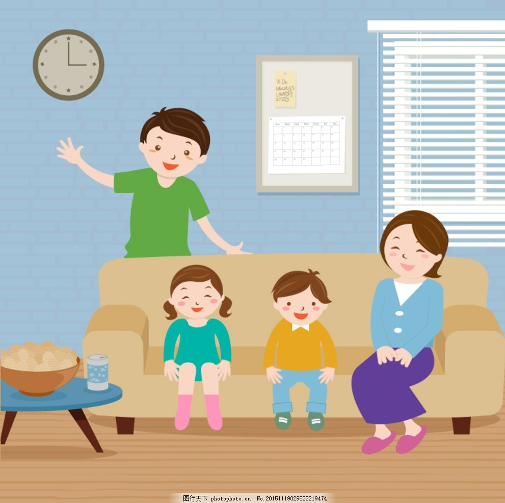 四口之家 人物 时钟 年历 孩子 家庭      零食 父母 卡通人物头像 设