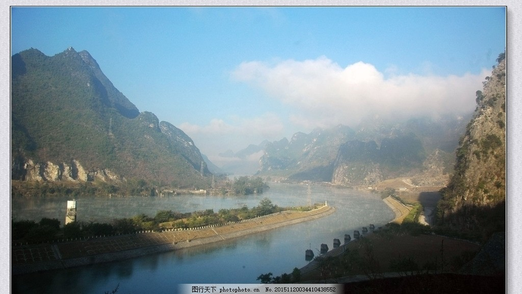 红水河晨雾 红水河 晨雾 河面 水气 沸腾 摄影 自然景观 山水风景 300