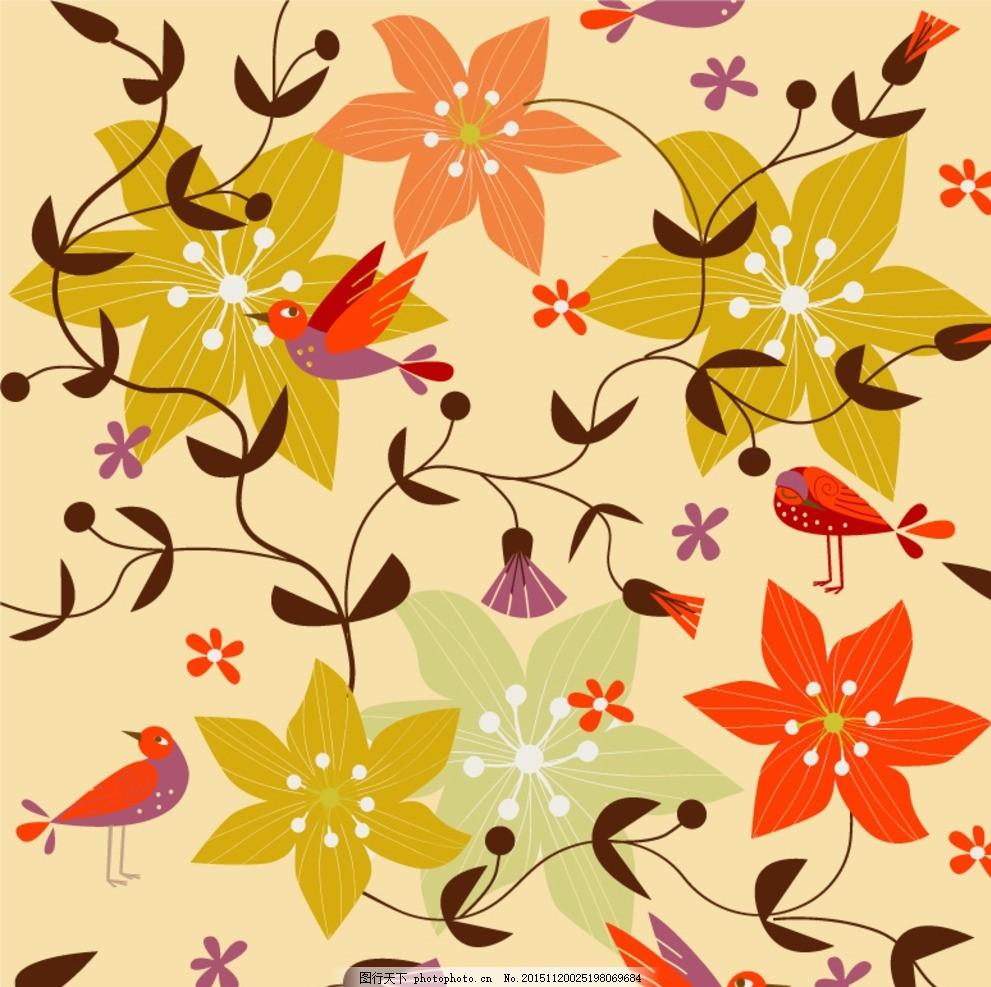 复古鸟语花香背景矢量素材 花卉 花朵 鲜花 花枝 花藤 花蔓 藤蔓
