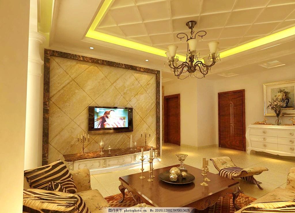 客厅效果图 客厅隔断 欧式设计 客厅电视墙 设计 环境设计 室内设计 7