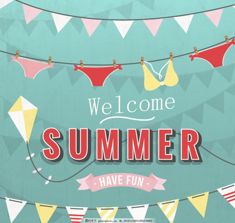 复古夏季度假海报 丝带 三角拉旗 海报 度假 比基尼 夏季 广告素材