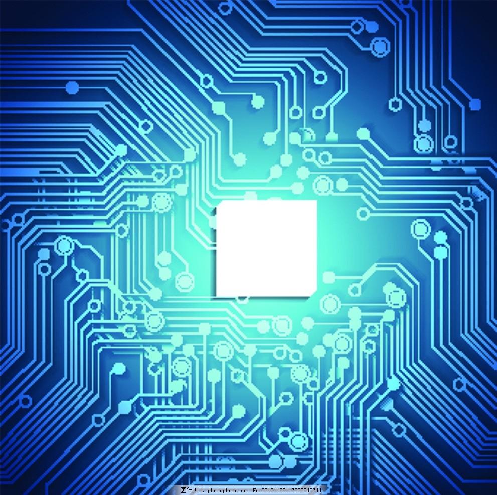 蓝色梦幻科技背景 电路图 线路图 电路板 核心科技 电子科技 科技背景