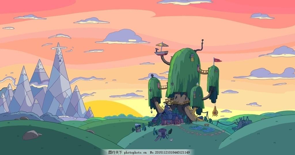 高清 森林卡通 唯美 场景 动漫 卡通 设计 动漫动画 风景漫画 72dpi