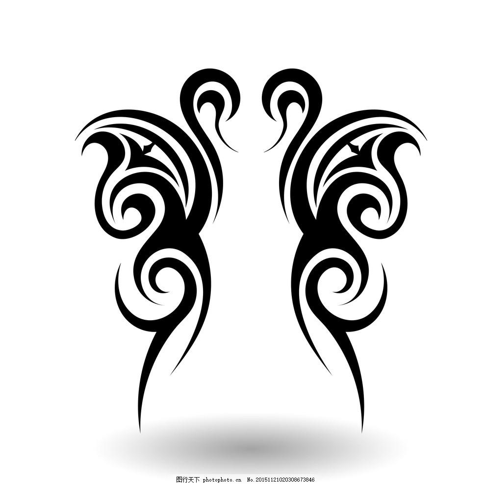 纹身 手绘 花纹 纹样 花边 纹身图案 设计 矢量 eps 设计 底纹边框