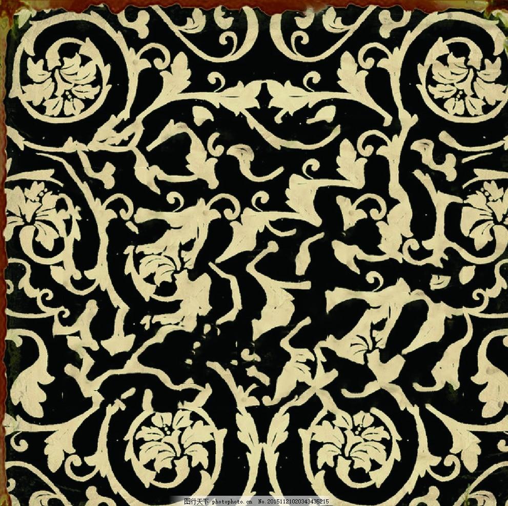 黑色花纹 复古 花纹 纹路 油画 画笔 设计 底纹边框 花边花纹 28dpi