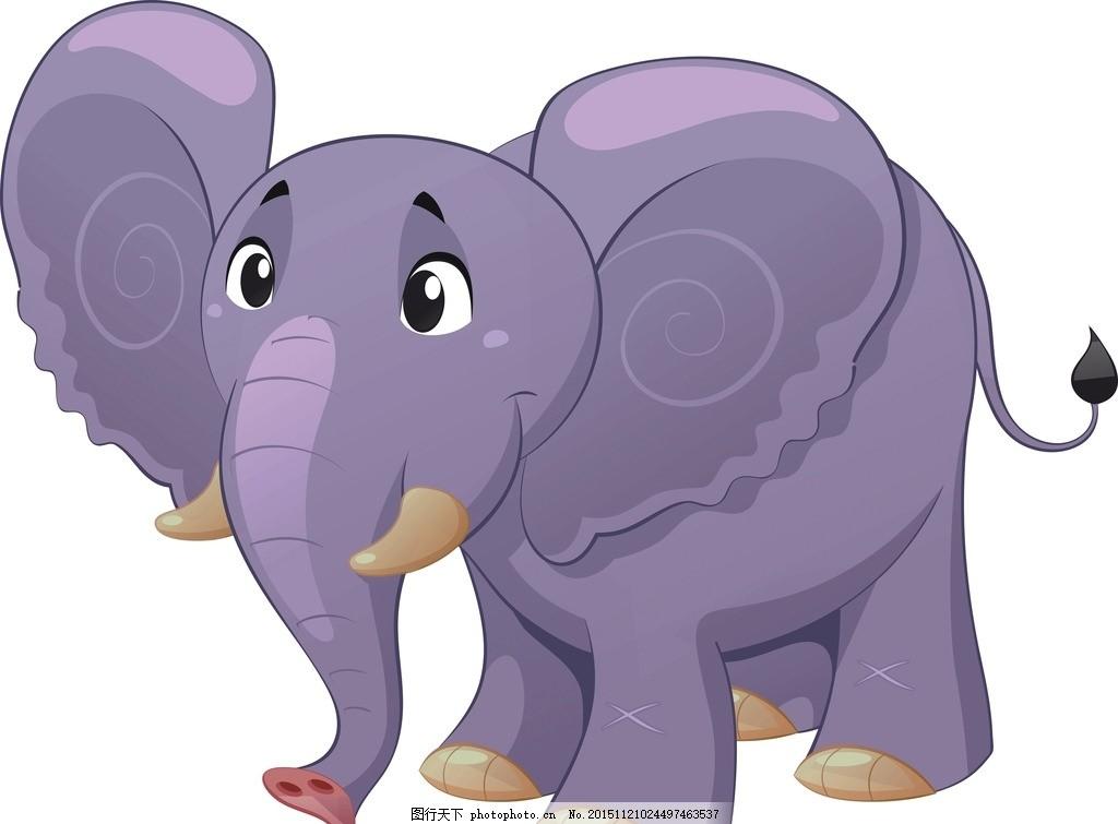 大象 矢量 动物 可爱 卡通 图案