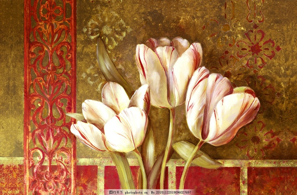水彩花卉 卡纸画 装饰画 墙绘 油画 丙烯画