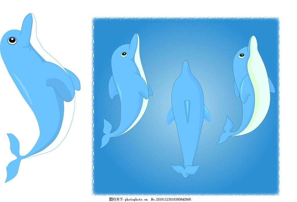 手绘海豚矢量图