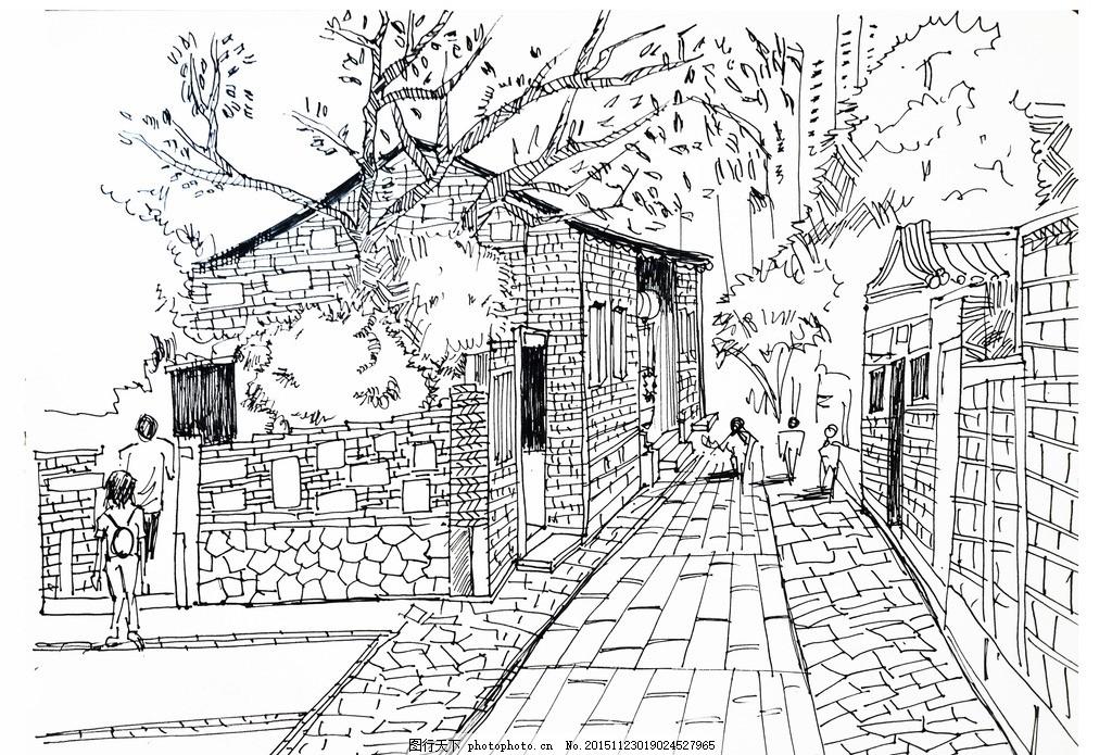 五店市 手绘 儿童画 线稿 晋江 古厝 红房子