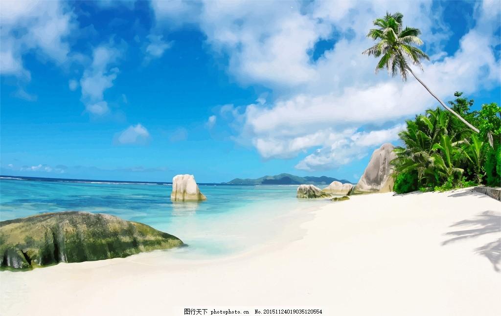 海边沙滩椰树礁石蓝天白云油画