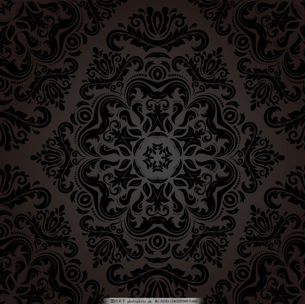 黑色欧式背景 黑色华丽背景 黑色 欧式花纹背景 精美欧式花纹 墙纸