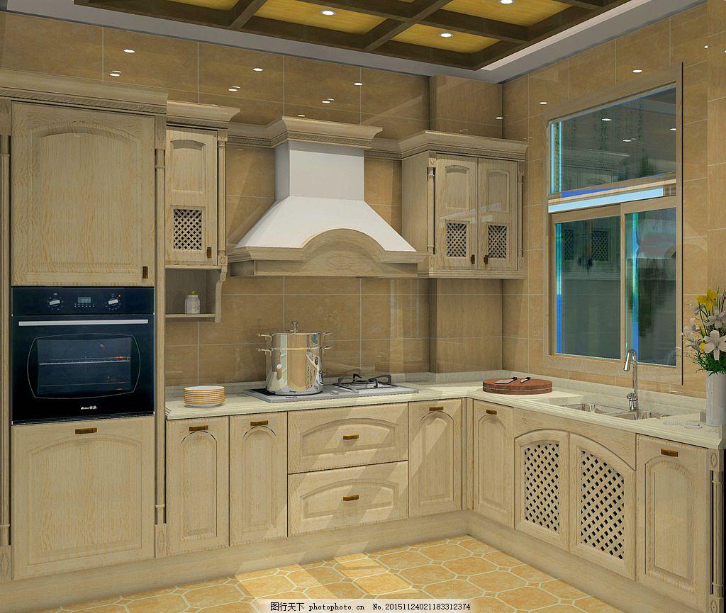欧式美国红橡      别野 整体厨房 实木 电器 家居 墙砖 地砖 窗户