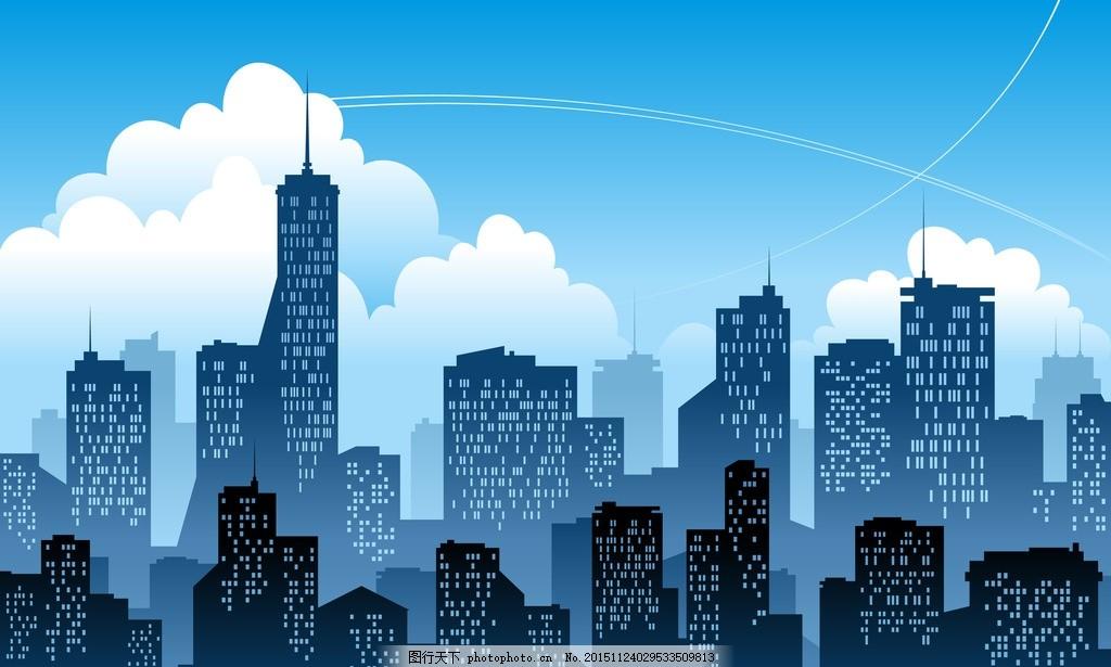 简约 彩色城市 线条 剪影 ai 城市 建筑线条 时尚都市夜晚 楼房 手绘