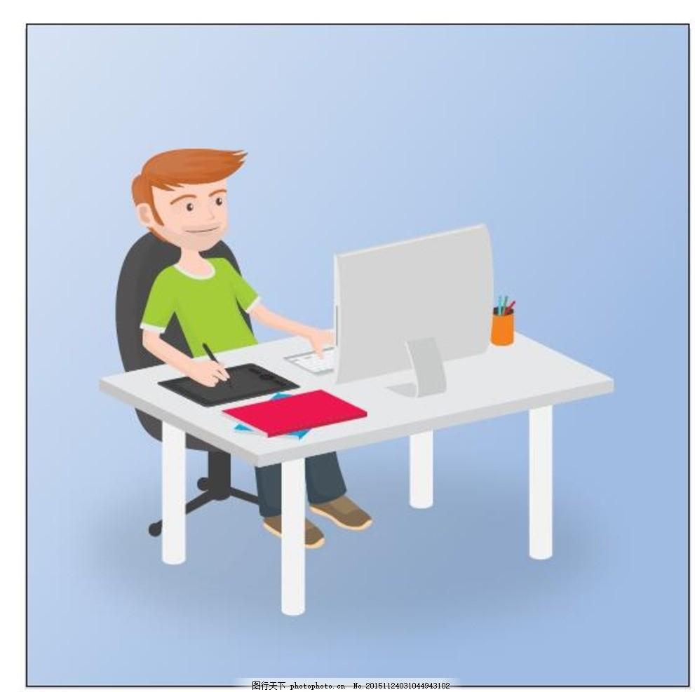设计师的工作平台 他的电脑 顶视图 计算机 设计 办公室 工作 办公桌