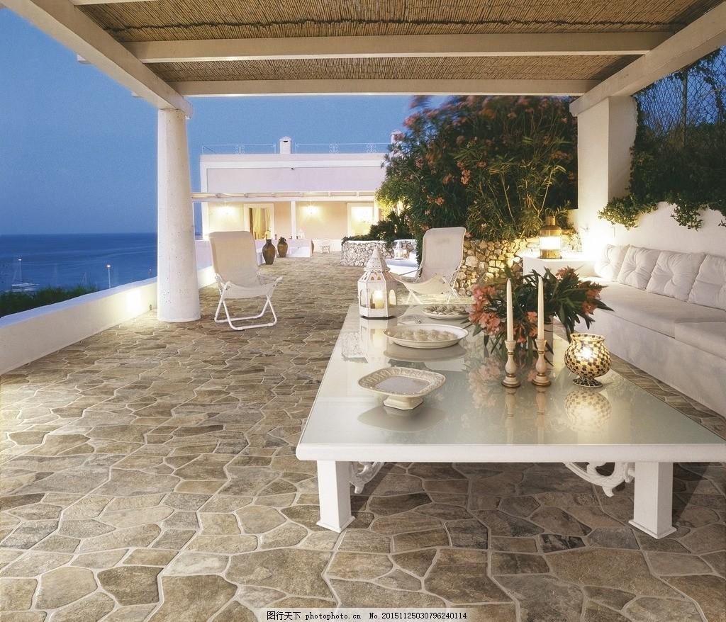 阳台 仿古砖 陶瓷 瓷砖 阳台风景 欧式风格 室内广告设计