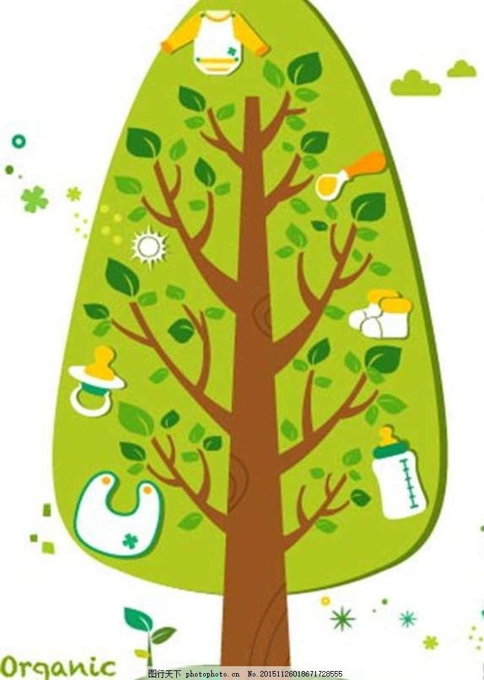 可爱卡通绿色树婴儿宝宝用品