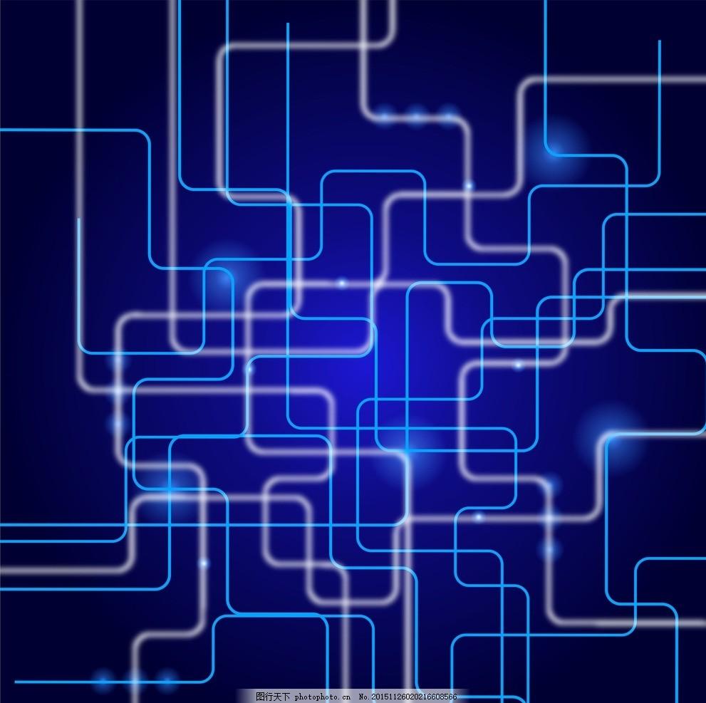 蓝色闪亮曲线 背景 壁纸 桌面科技 科幻 未来 底纹