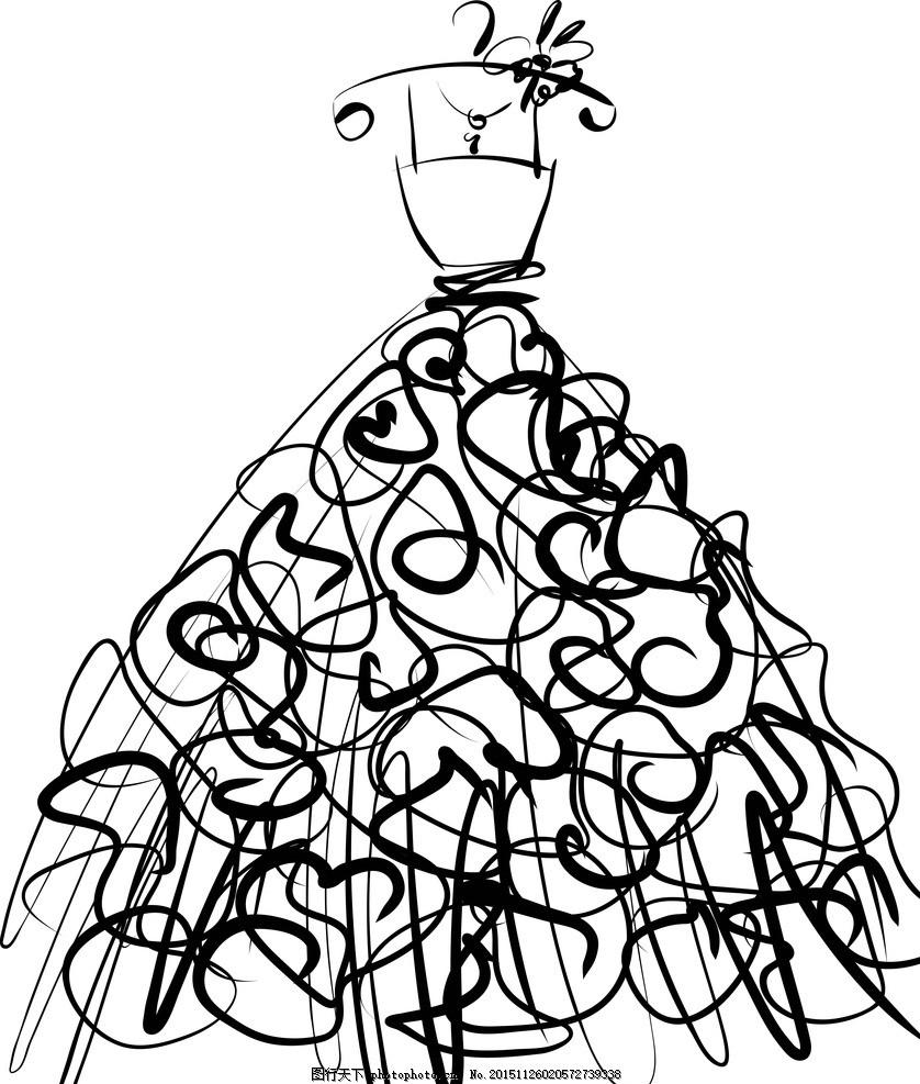 手绘简笔画小裙子可爱