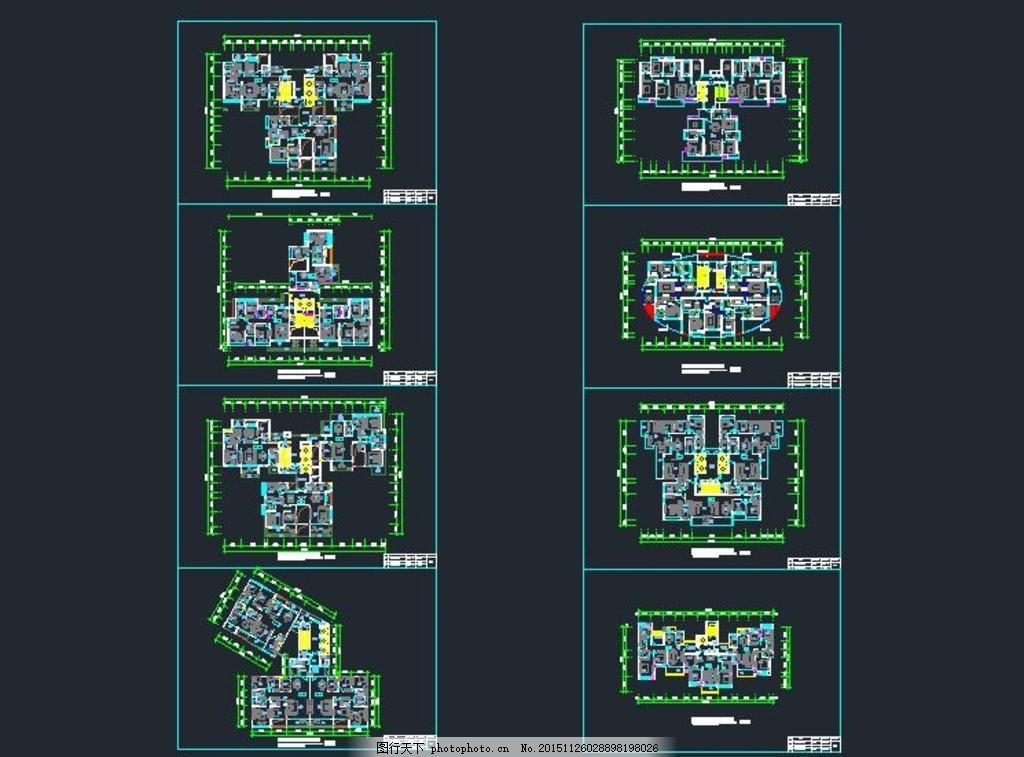 一梯三户型标准层平面图 民房效果图 别墅 建筑图纸 仿古建筑 别墅
