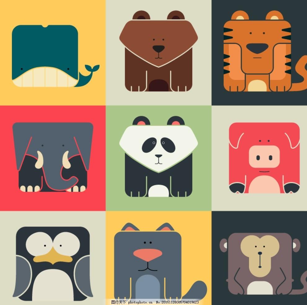 设计图库 海报设计 商业海报  方形动物图标 图标 鲸鱼 猴子 大象
