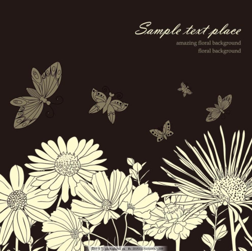 黑白线条矢量花艺素材 线条花艺 手绘花艺 鲜花素材 矢量花卉 花卉