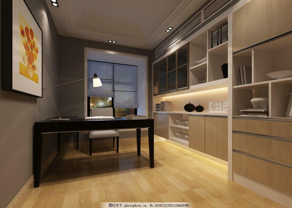 书房空间 室内设计 高清 书架 木地板 书桌 挂画