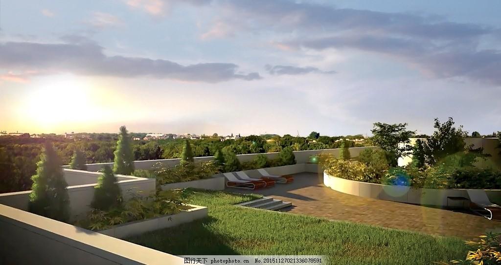 空中花园绿化效果图 绿化带 景观花园 露台绿化 园林 屋顶花园