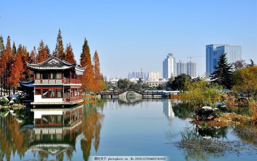水中倒影 红杉树 碧水蓝天 远景高楼 田园景色 摄影 自然景观 风景