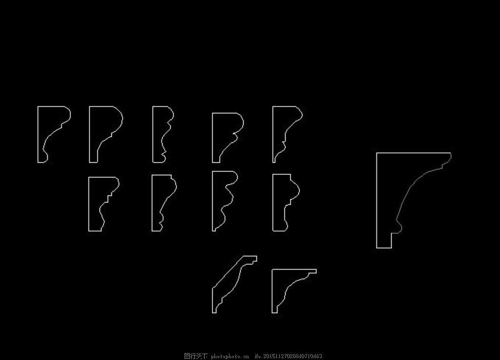 石膏线剖面图 帽线剖面图 帽线cad图 设计 环境设计 施工图纸 dwg