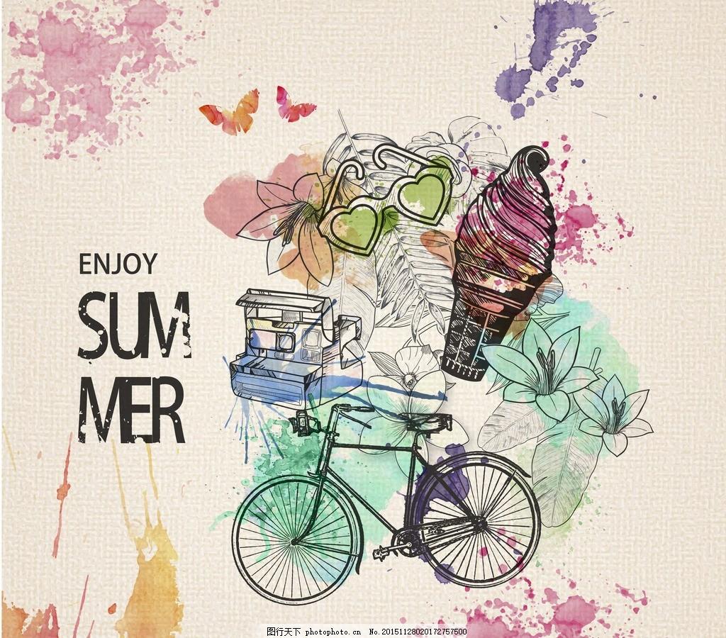 复古自行车 自行车手绘 复古背景 水墨喷溅 复古蝴蝶 夏季素材