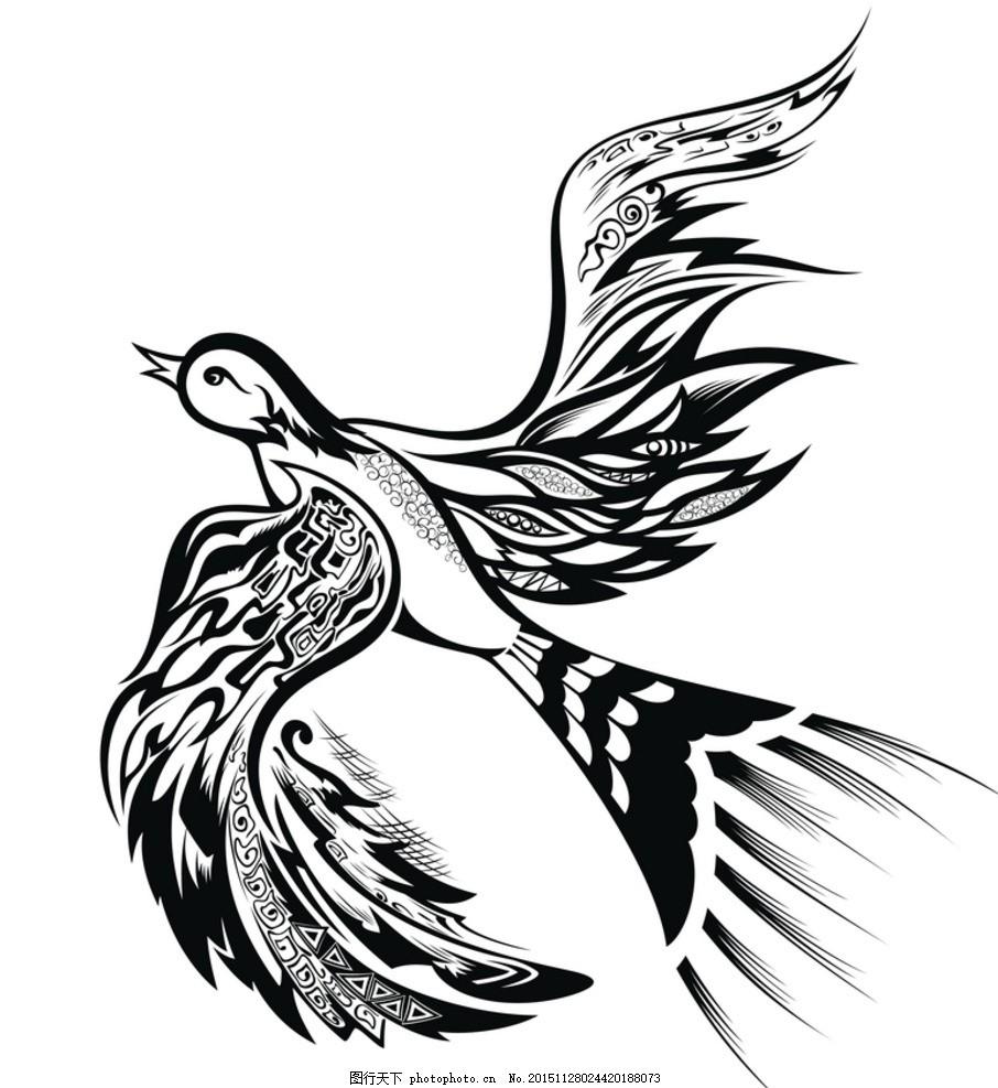 黑白剪影 矢量素材 图案 燕子 矢量线稿动物