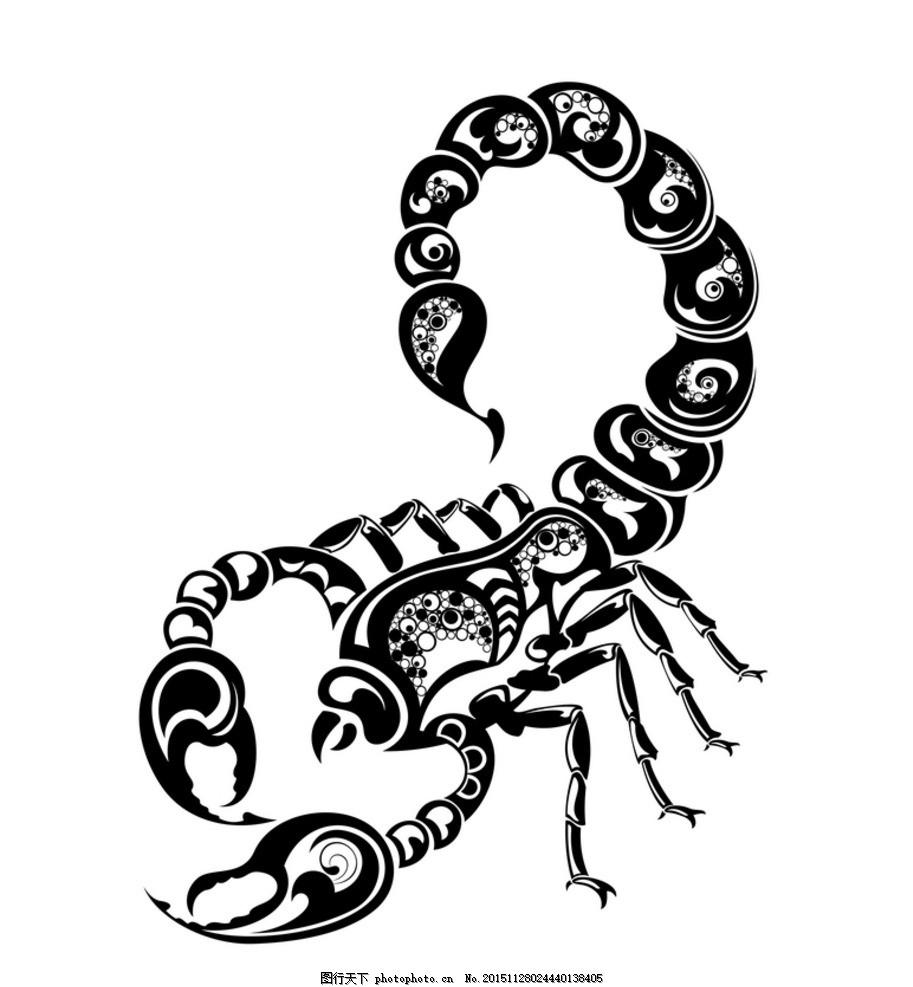 黑白剪影 矢量素材 蝎子 黑白 剪影 矢量素材 图案 蝎子 矢量线稿动物