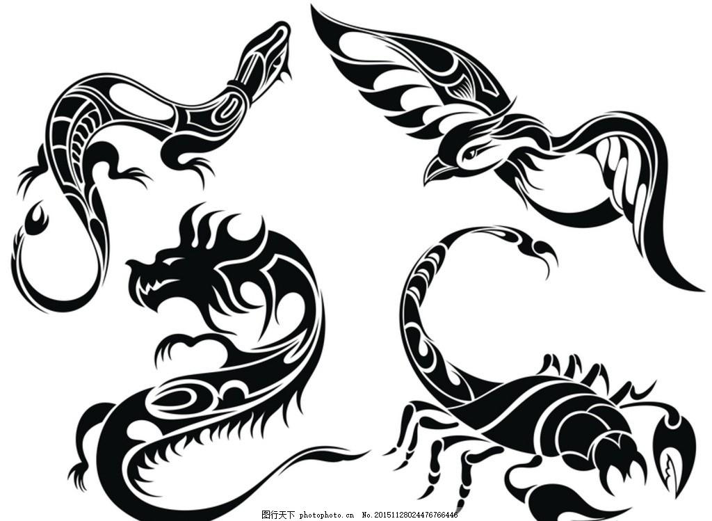 矢量素材 蝎子 龙鸟 壁虎 黑白 剪影 图案 矢量线稿动物