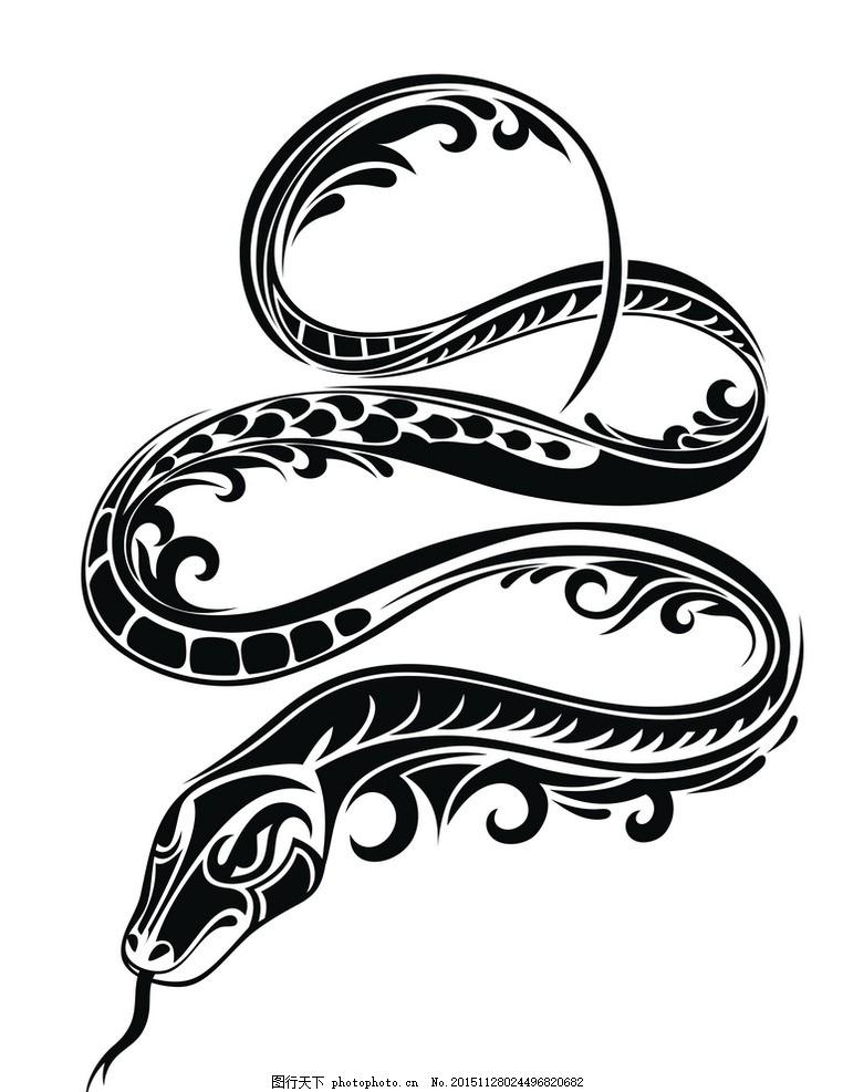 矢量素材 图案 蛇 黑白 剪影 矢量素材 图案 蛇 矢量线稿动物 设计