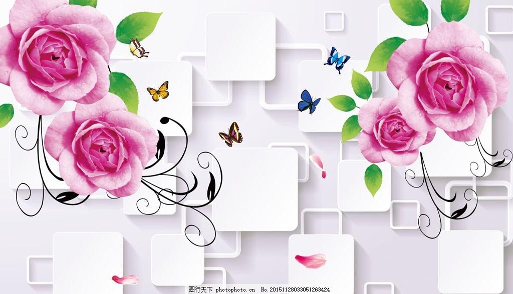 电视墙 3d背景墙 室内装饰图片 时尚玫瑰 唯美 梦幻 玫瑰花 线条 手绘