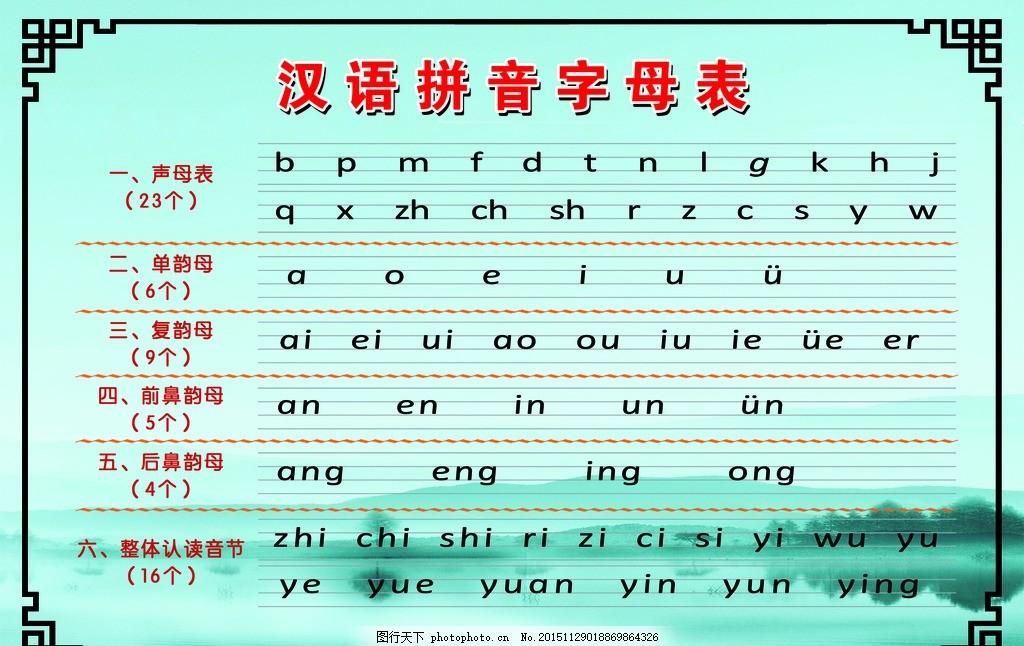 汉语拼音字母表 生母表 韵母表 整体认读 音节 边框 底纹 山图片