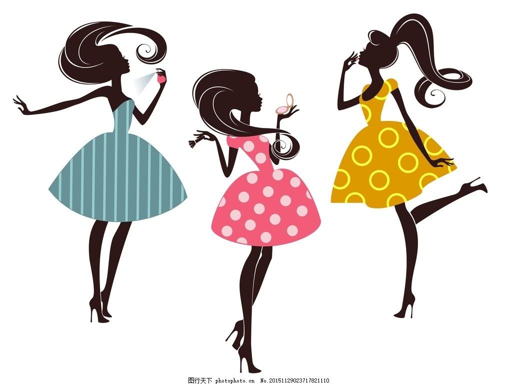 手绘少女 卡 卡通女孩 女人 时尚美女 女性素描 可爱女孩 女生