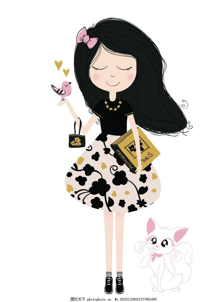 手绘少女 卡通女孩 女人 时尚美女 女性素描 可爱女孩 女生 简笔画