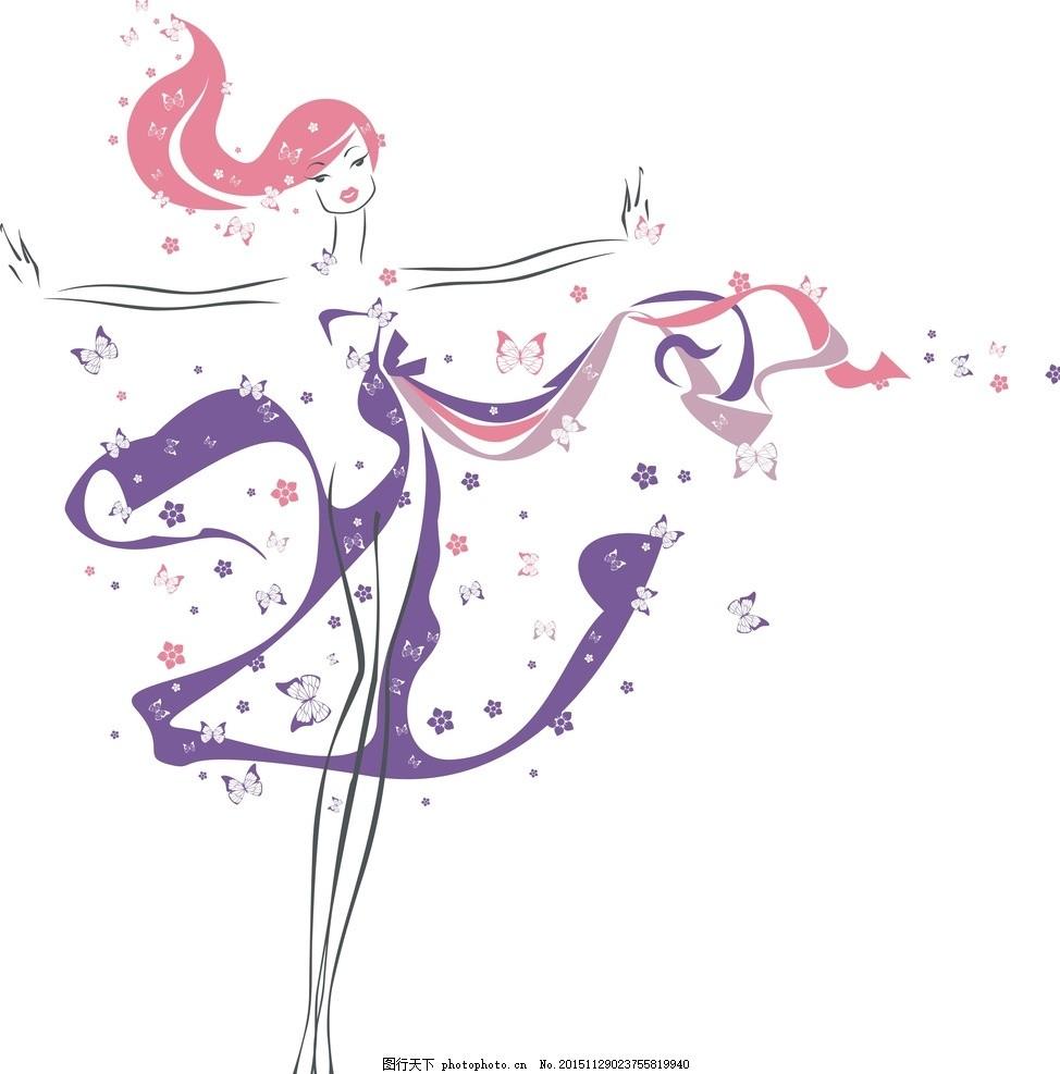 女性妇女  手绘少女 卡通女孩 女人 时尚美女 女性素描 可爱女孩 t恤