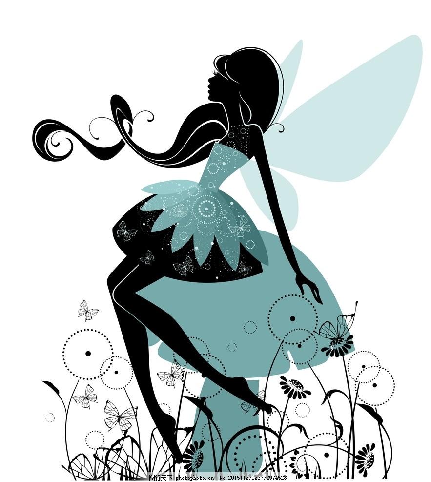 手绘少女 卡通女孩 女人 天使 花仙子 时尚美女 女性素描 可爱女孩