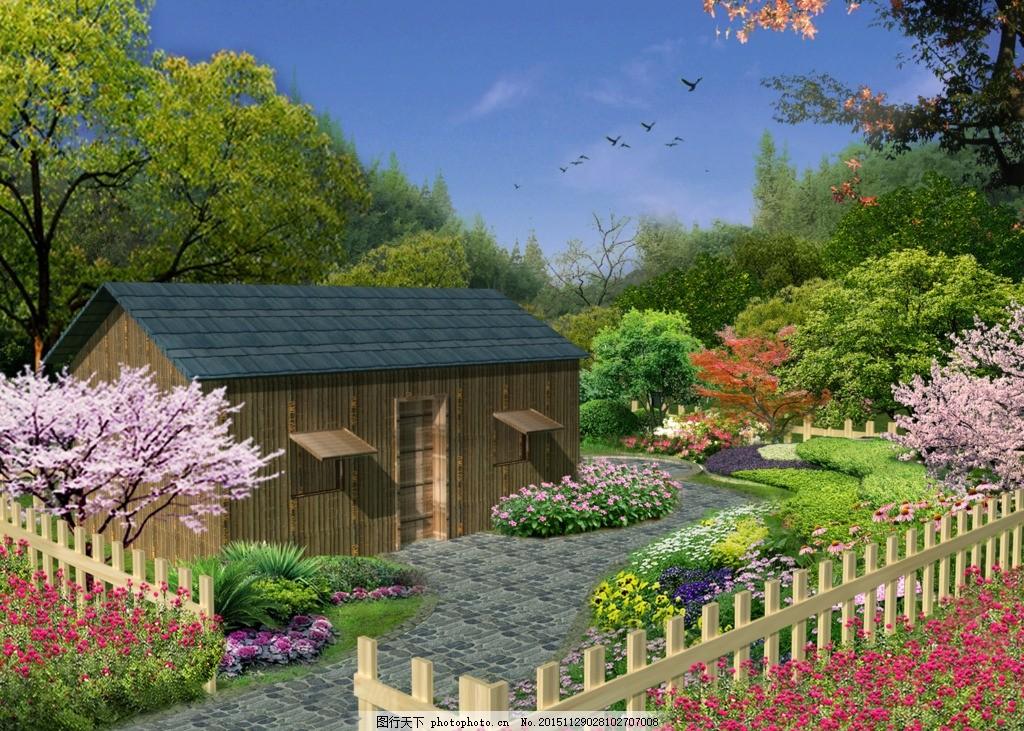 园林景观森林木屋别墅景观设计