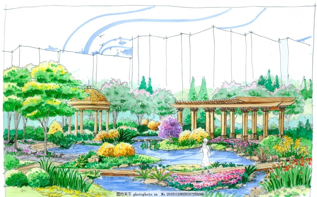 手绘景观小区高清彩色透视效果图