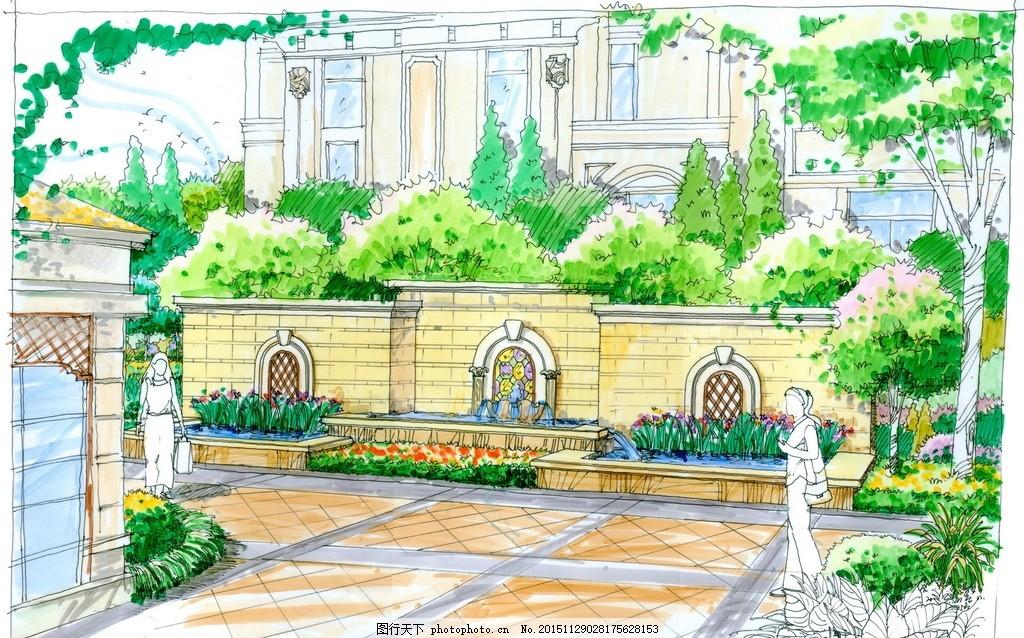 手绘景观小区高清彩色透视效果图 手绘园林 手绘效果图 手绘彩平