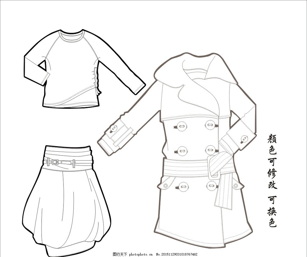 手绘服装简易图cdr